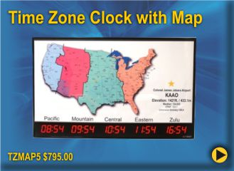 BRG TZMAP5 is a 5 zone Time Zone clock with a US map of the time zones, designed for Airports and FBO's