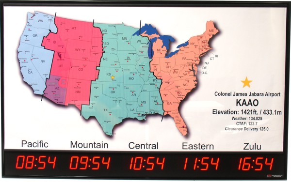 Digital Time Zone Displays World Clocks Digital World Clocks Or - Time zones in the us map