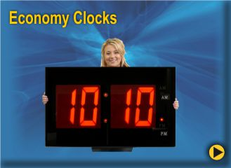 BRG Economy Clocks, Large LED Clocks at a Small Price.  Look at the variety of sizes and colors available.