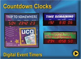 BRG Event timers can help you count down to an upcoming event or count up from a significant Milestone.  BRG offers these timers in a variety of sizes, standard or custom graphics.  We even have backlit models that light up with energy efficient LEDs.