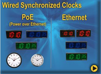 BRG Power-over-Ethernet Clocks and Ethernet Clocks are synchronized through an NTP time server