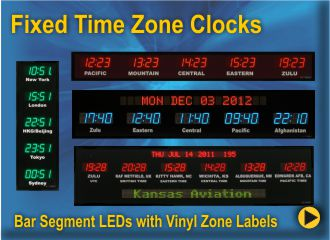 BRG Fixed Zone Time Zone Clocks