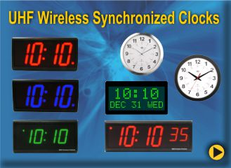 BRG UHF FM Synchronized Clock System offers a broad Range Wireless Clock System