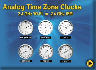 BRG Analog Time Zone Clocks, Analog World Clocks, Analog Zulu Clocks, Black and Aluminum Analog Clocks