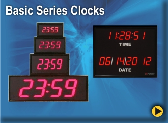 BRG Basic Digital Clocks are available in a variety of sizes and LED Colors