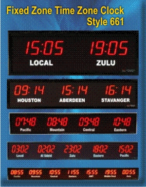 BRG World Clock, Tize Zone Clock Style 661