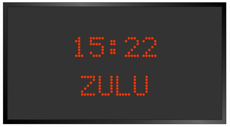 BRG Model 5610AR is shown here with 1 zone and 1.2 inch dot matrix LEDs. Digital Time Zone Display, UTC Clock, Multi Location Clock, Zulu Clock, Multi-location Clock, World Clock, Time Zone Clock