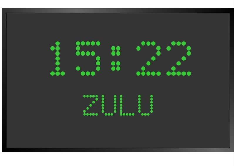 BRG Model 5610IR is shown here with 1 zone and 2.0 inch LEDs for time and  1.2 inch dot matrix LEDs. Digital Time Zone Display, UTC Clock, Multi Location Clock, Zulu Clock, Multi-location Clock, World Clock, Time Zone Clock