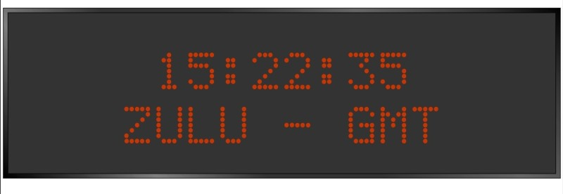 BRG Model 5910KR is shown here with 1 zone and 2.0 inch dot matrix LEDs. Digital Time Zone Display, UTC Clock, Multi Location Clock, Zulu Clock, Multi-location Clock, World Clock, Time Zone Clock