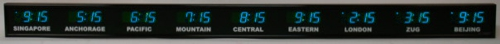 BRG Model 661X is shown here with 1 zone and 1.8 inch LEDs. Digital Time Zone Display, UTC Clock, Multi Location Clock, Zulu Clock, Multi-location Clock, World Clock, Time Zone Clock
