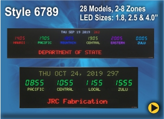 BRG Time Zone Clock, World Clock, Zulu Clock, Time Zone Clock Style 6789