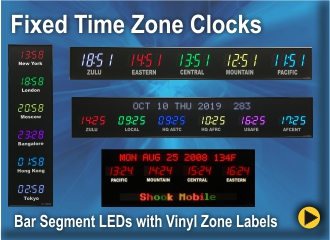 BRG Fixed Zone Time Zone Clock, Zulu Clock, World Clock, Military Clock, World Time Zone Clock, Military Time Zone Clock