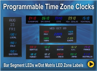 Digital Time Zone Displays World Clocks Digital World