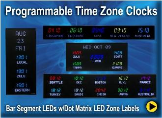 Digital Time Zone Displays World Clocks Digital World