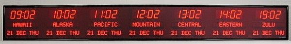 The BRG Model 6673Q is a 7 zone Time Zone Clock that displays the time in 2.5 inch bar segment LEDs and the zone labels and date in 1.2 inch dot matrix LEDs. Time Zone Display, Time Zone Clocks, World Clock, Digital Time Zone Clock, UTC Clock, Multi Location Clock, Zulu Clock, Multi-location Clock, Digital Clock.